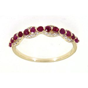 Ruby Diamond Designer Wedding Band 14K Yellow Gold